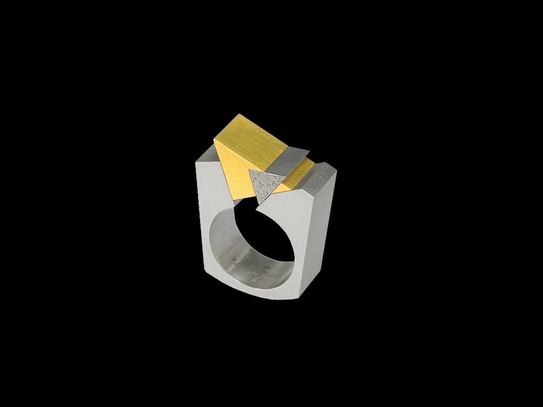 Ring, white gold, gold, palladium, 1996