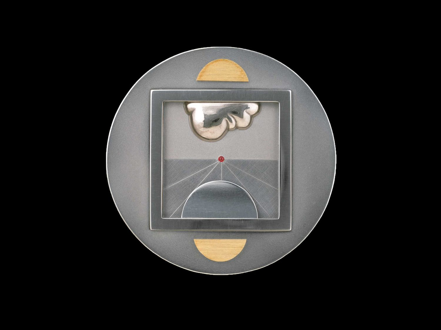BROOCH, STAINLESS STEEL, WHITE GOLD, GOLD, SILVER, RUBY, 1974