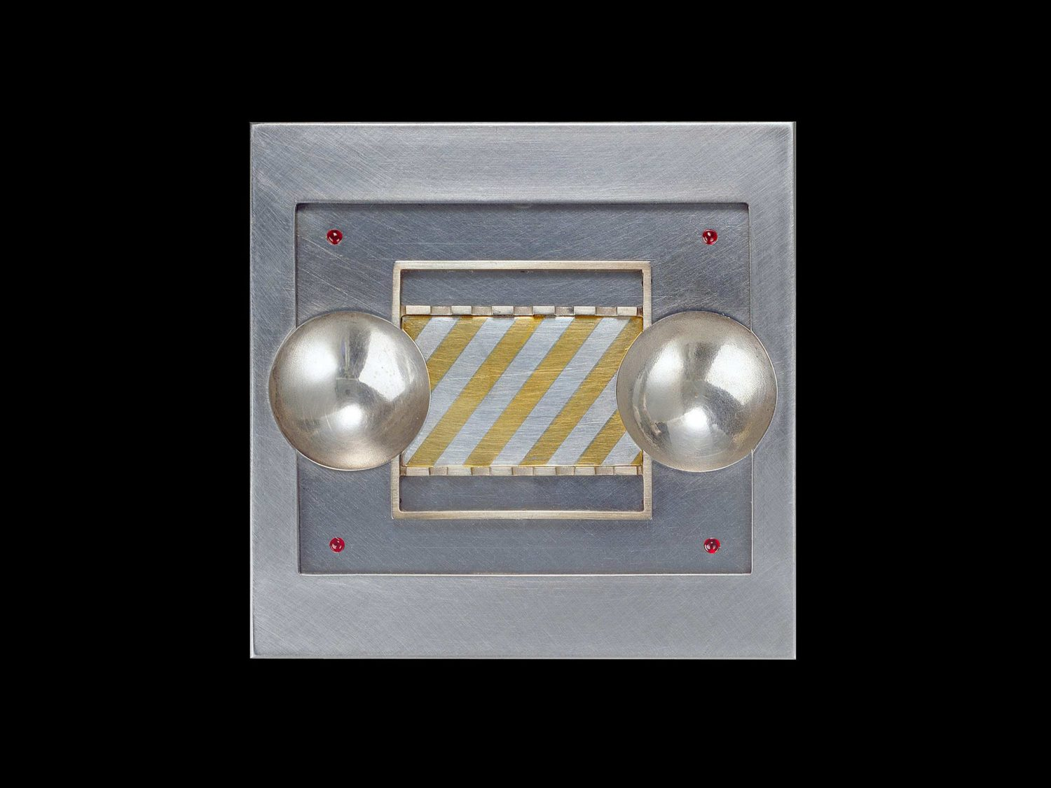 BROOCH, STAINLESS STEEL, SILVER, GOLD, RUBIES, 1971