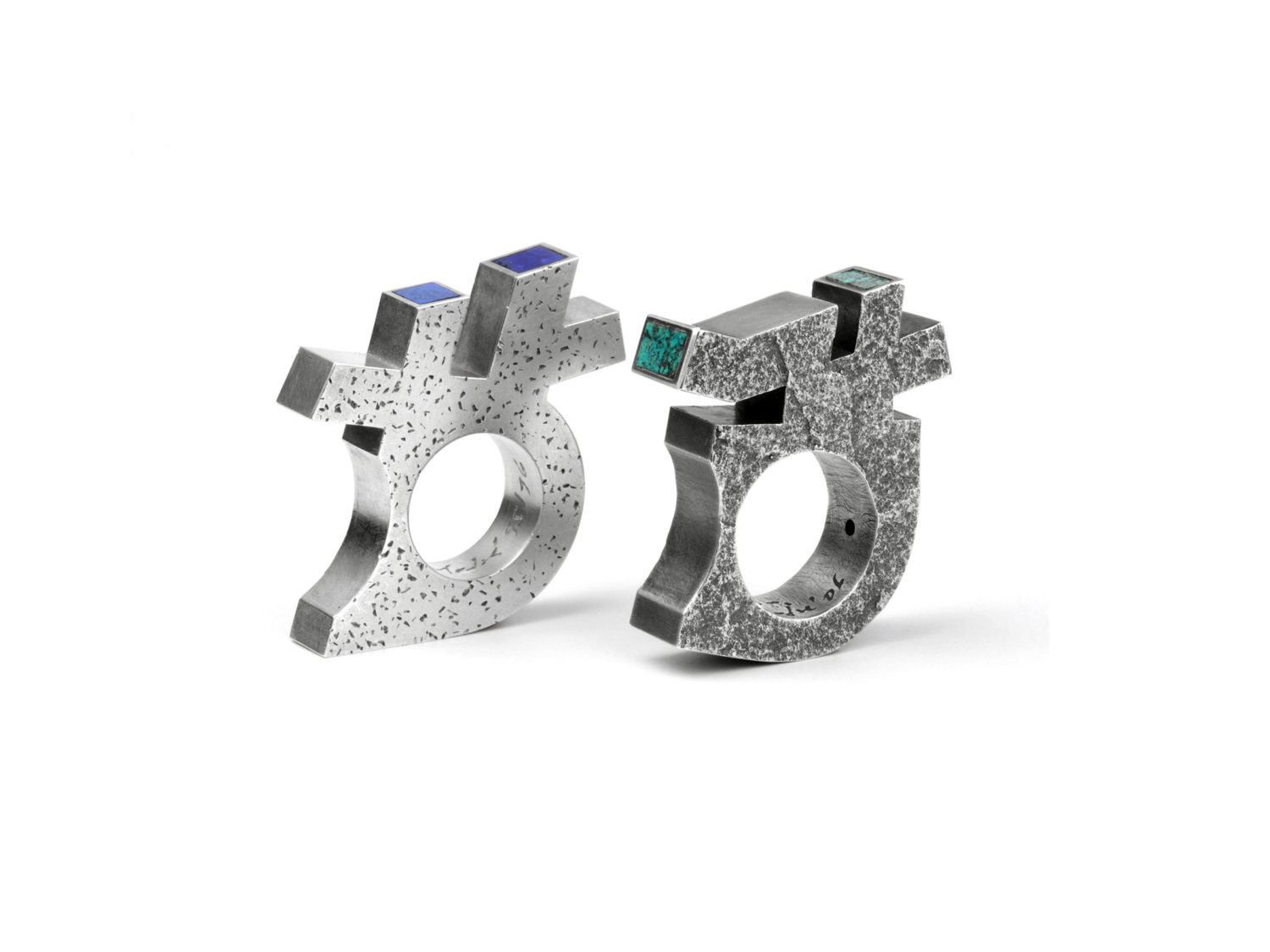 Ring, silver, lapis lazuli, 1996<br>     Ring, oxidized silver, turquoise, 2006