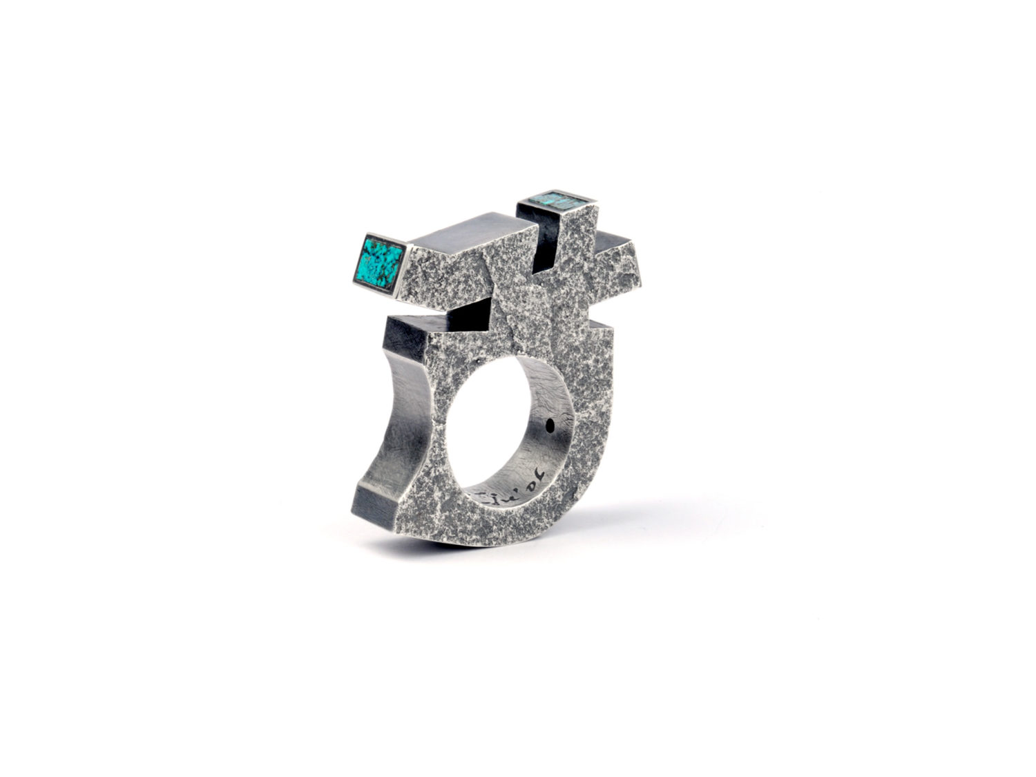 RING, OXIDIZED SILVER, TURQUOISE, 2006