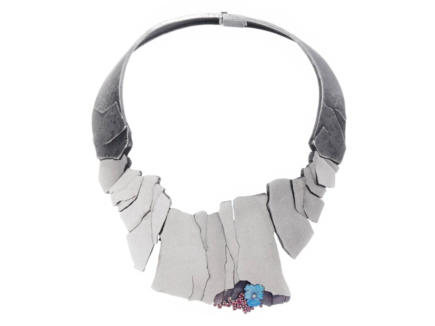Necklace, white gold, silver, rubies, opal, diamond, 1971