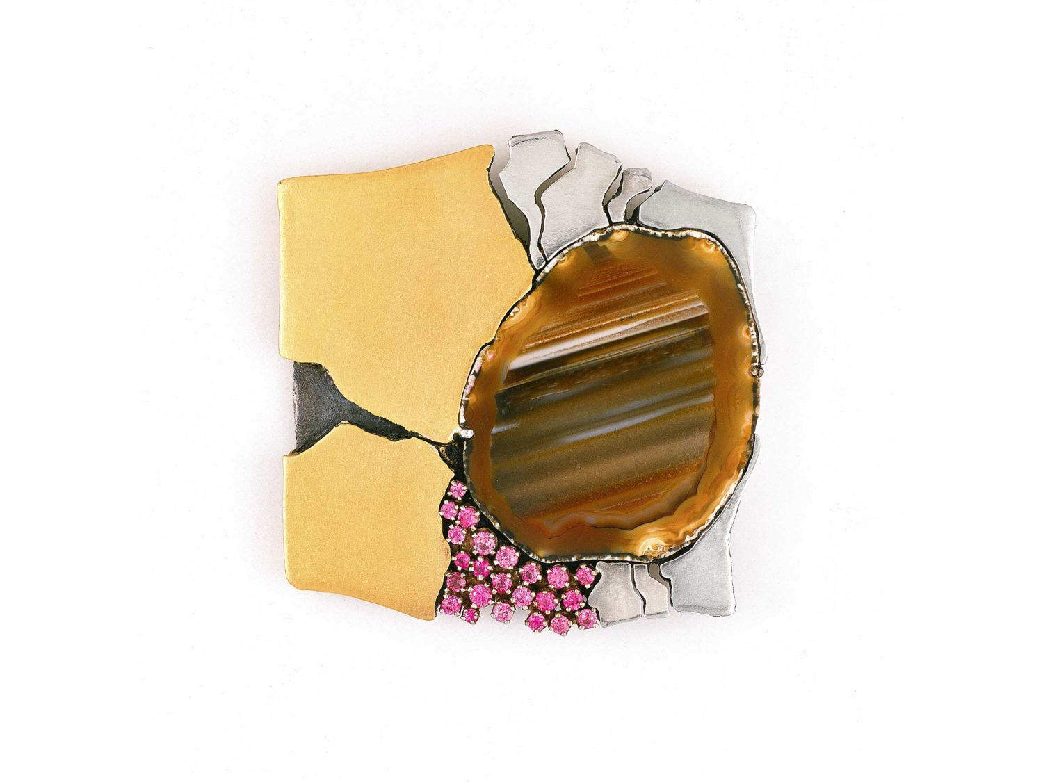 Brooch, gold, white gold, silver, rubies, agate, 1968