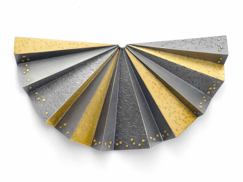 Brooch, oxidized silver, gold, 2016