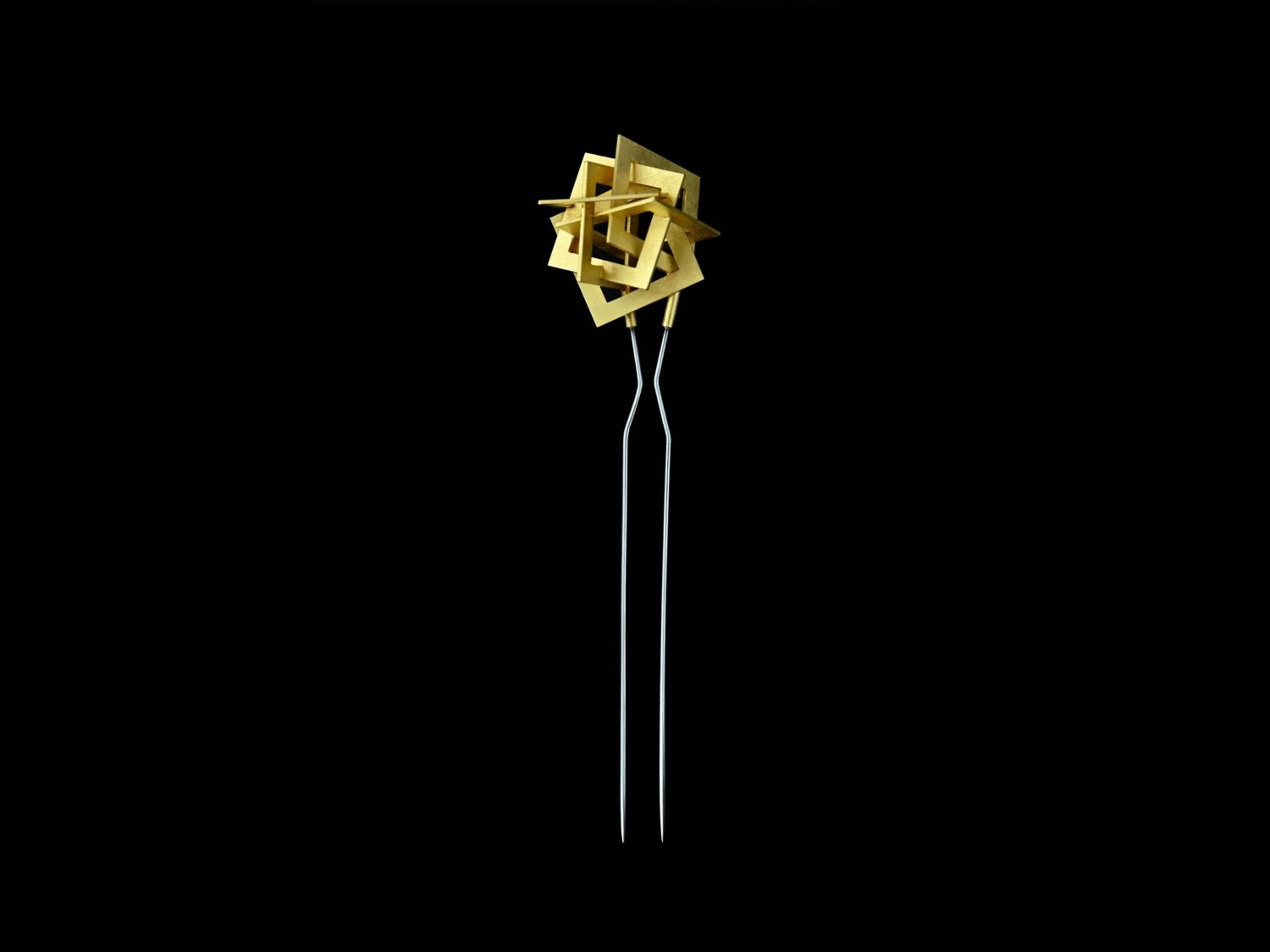Brooch, gold, stainless steel, 2010