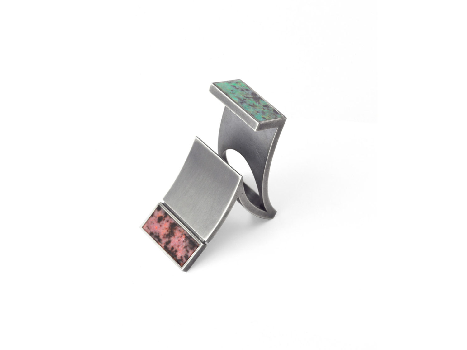 Ring, oxidized silver, rhodonite, turquoise, 2006