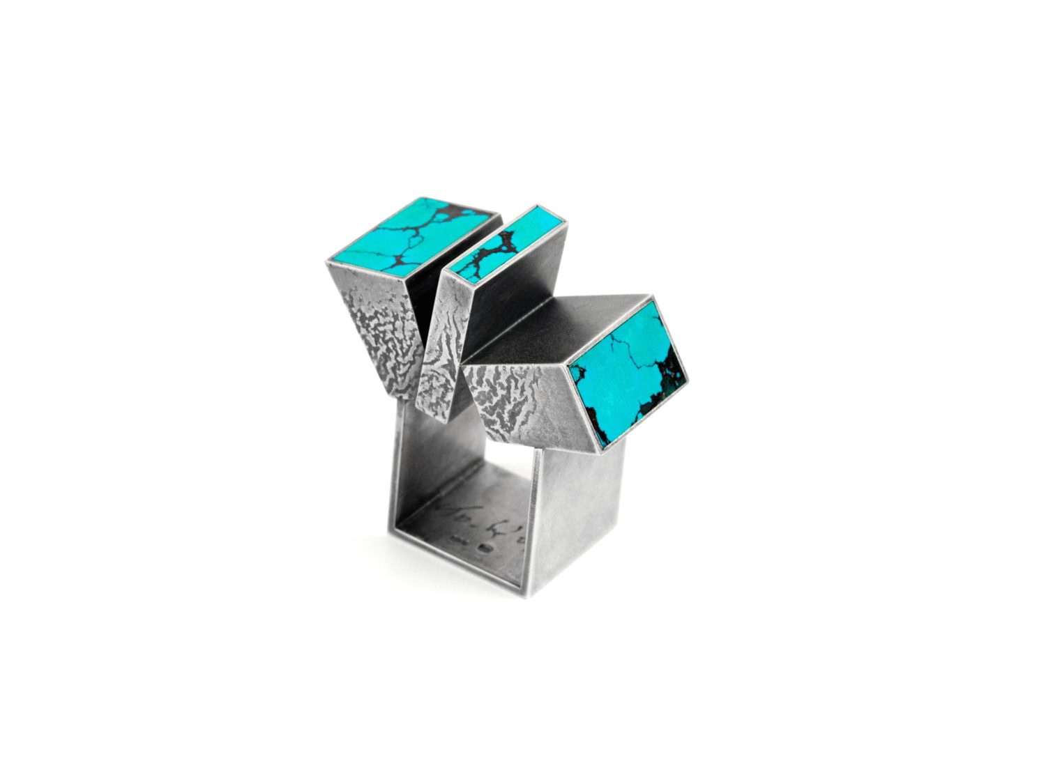 Ring, oxidized silver, turquoise, 2008