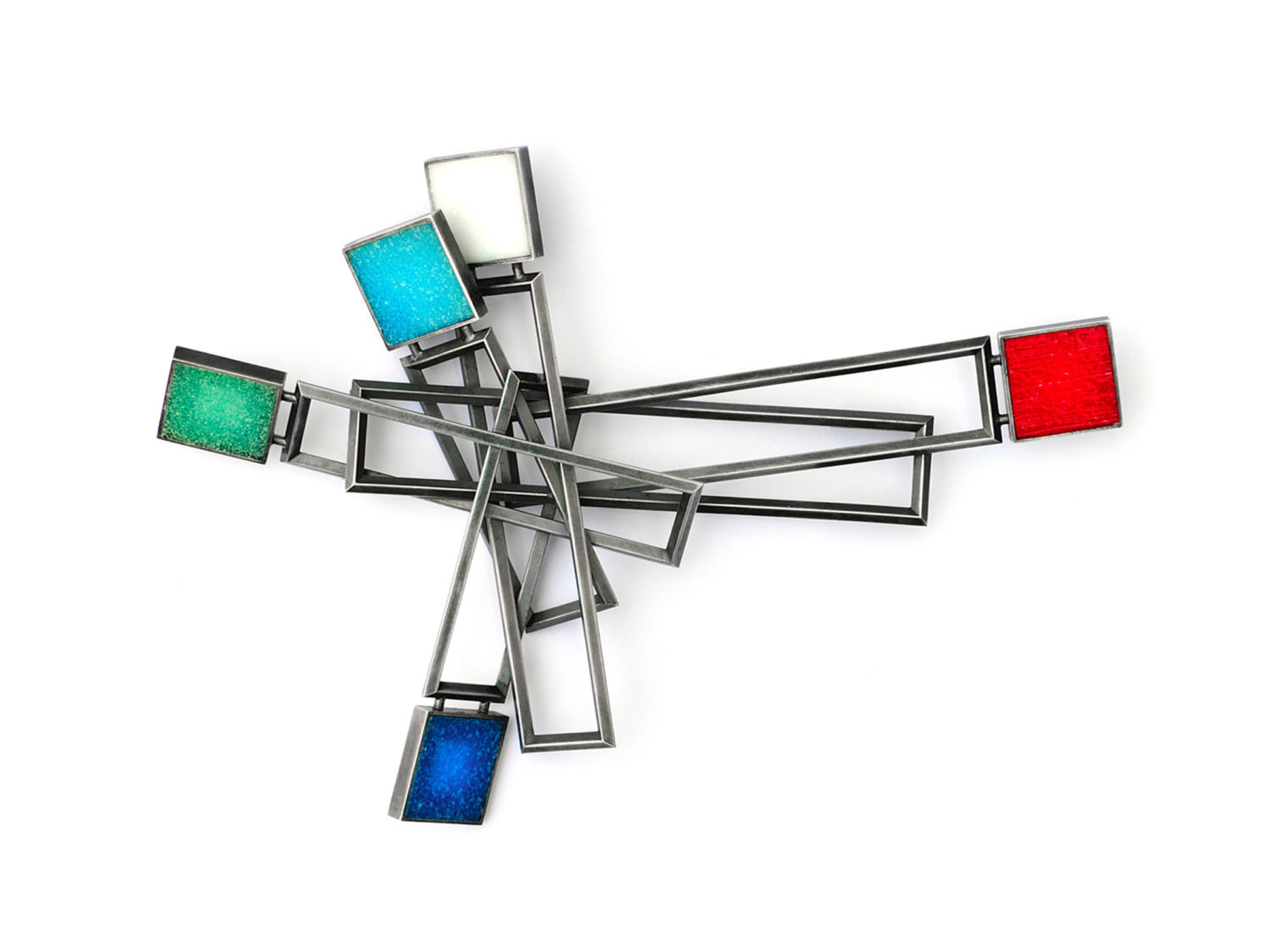 Brooch, oxidized silver, glass mosaic tiles, 2008