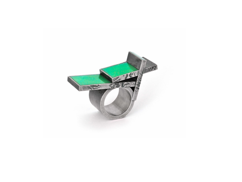 Ring, oxidized silver, chrysoprase, 2010