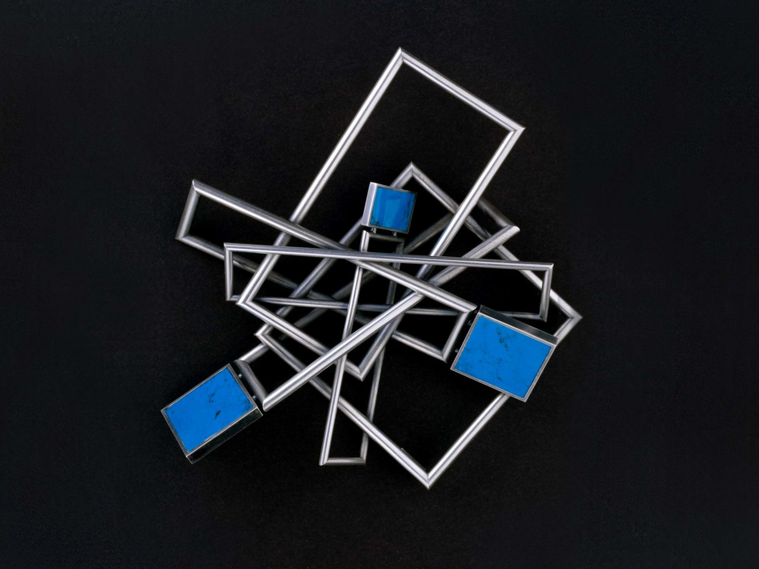 Brooch, oxidized silver, turquoise-resin, 2005