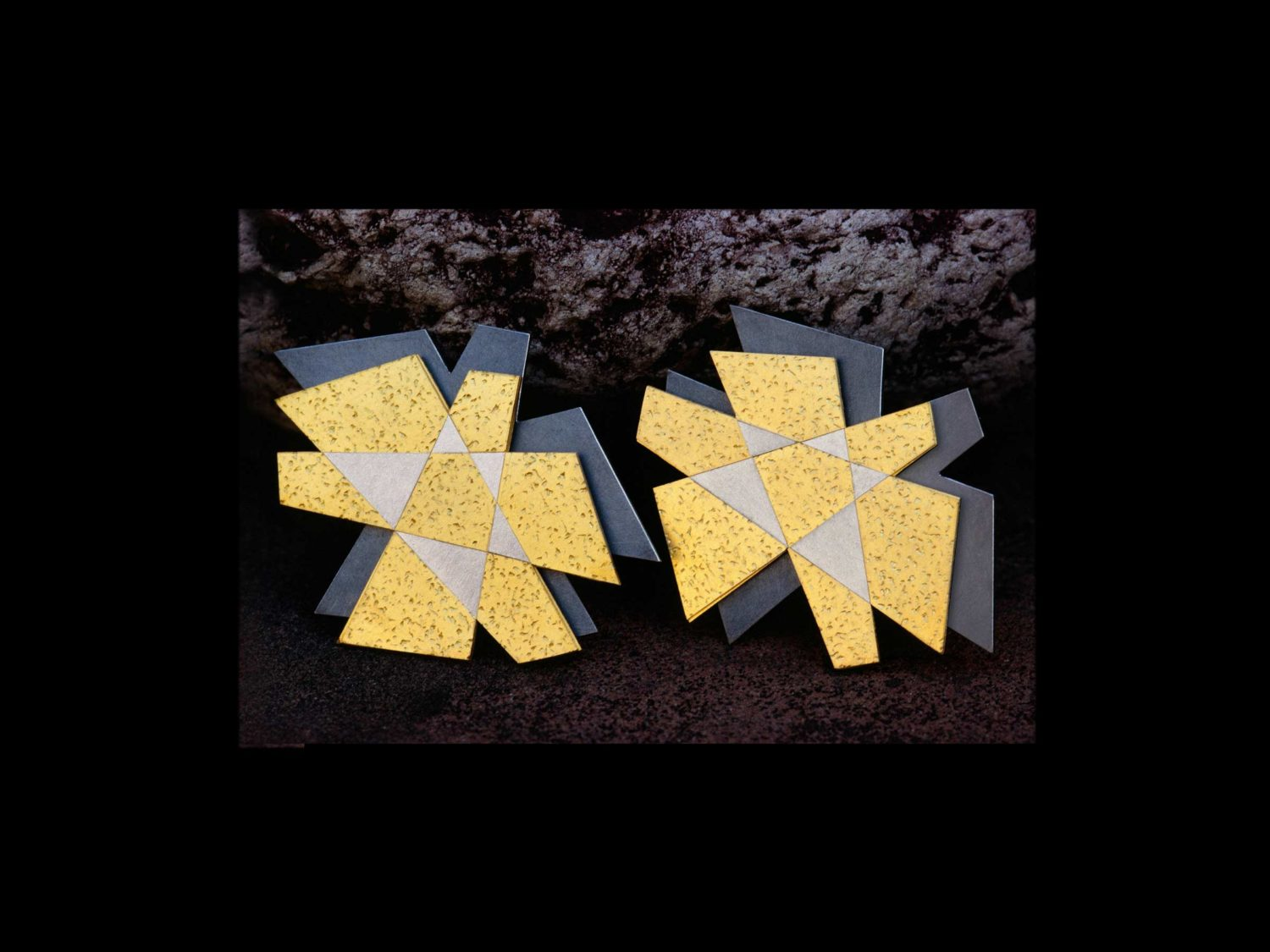 Earrings, oxidized silver, gold, white gold, 2002