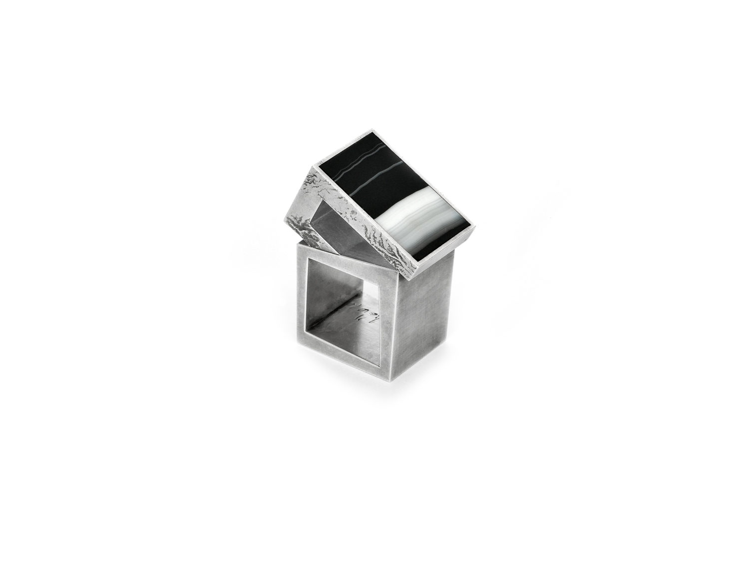 Ring, oxidized silver, agate, 2010