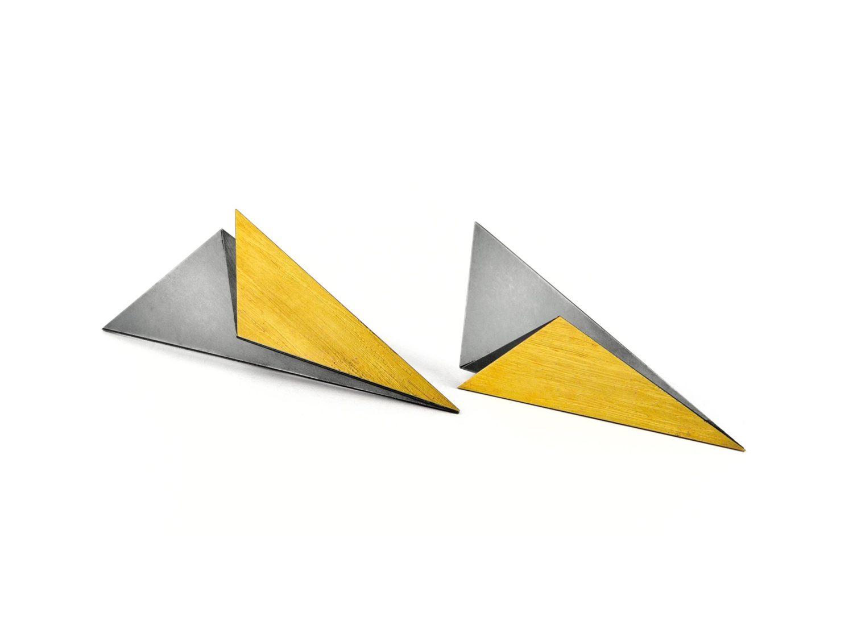 earrings, oxidized silver, gold, 2010