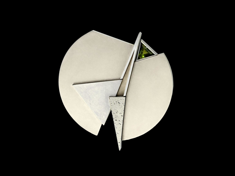 brooch, white gold, palladium, turmaline, 1994/95