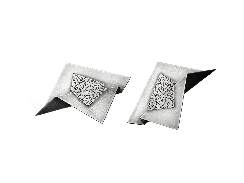 earrings, oxidized silver, 2003