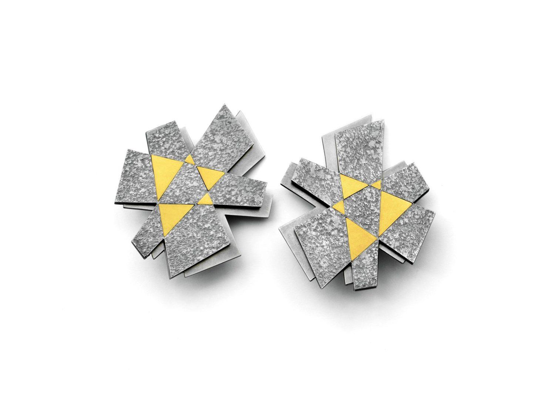 earrings, oxidized silver, gold, 2015