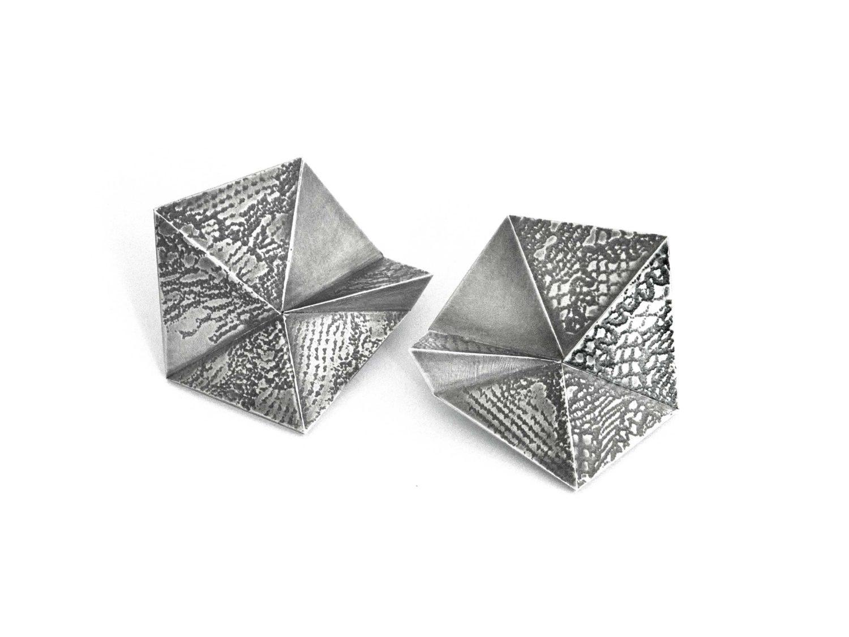 earrings, oxidized silver, 2018