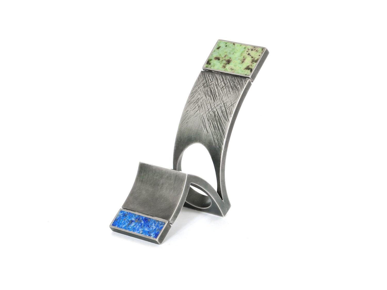 Ring, oxidized silver, turquoise, lapislazuli, 2007