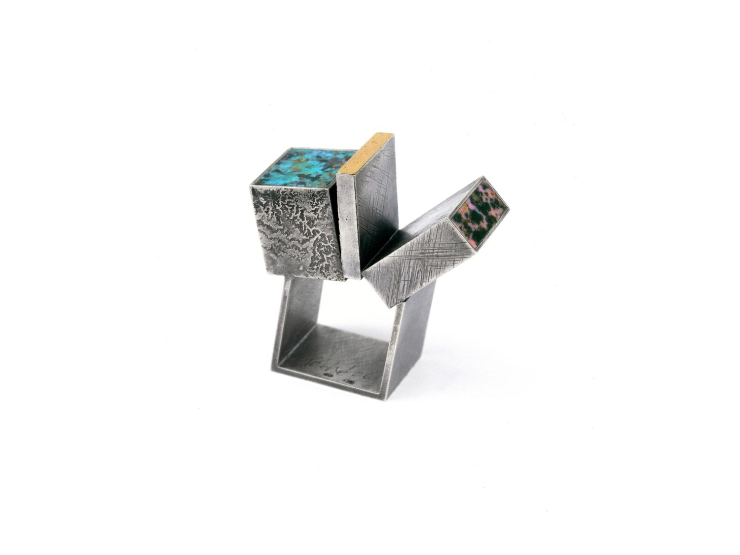 Ring, oxidized silver, gold, turquoise, rhodonite, 2006
