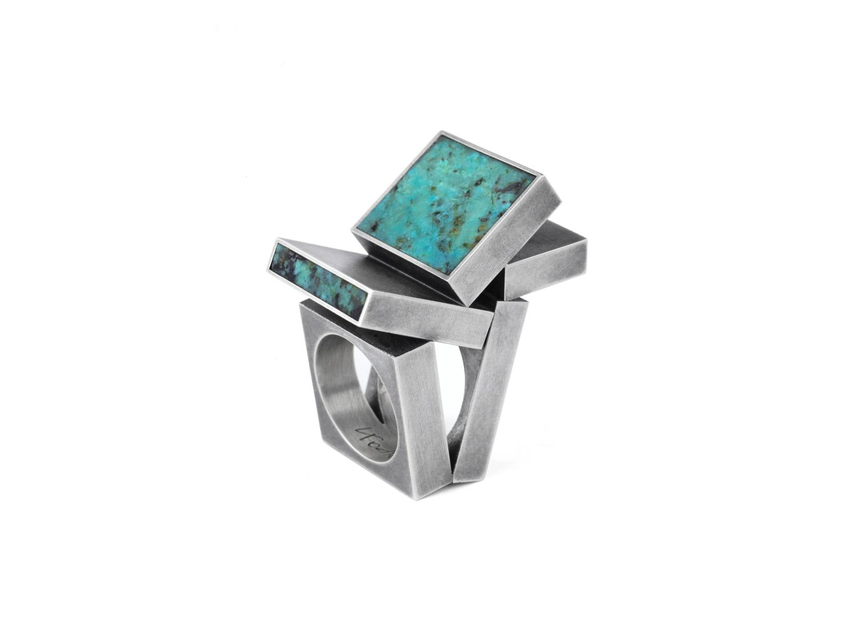 Ring, oxidized silver, amazonite, 2009