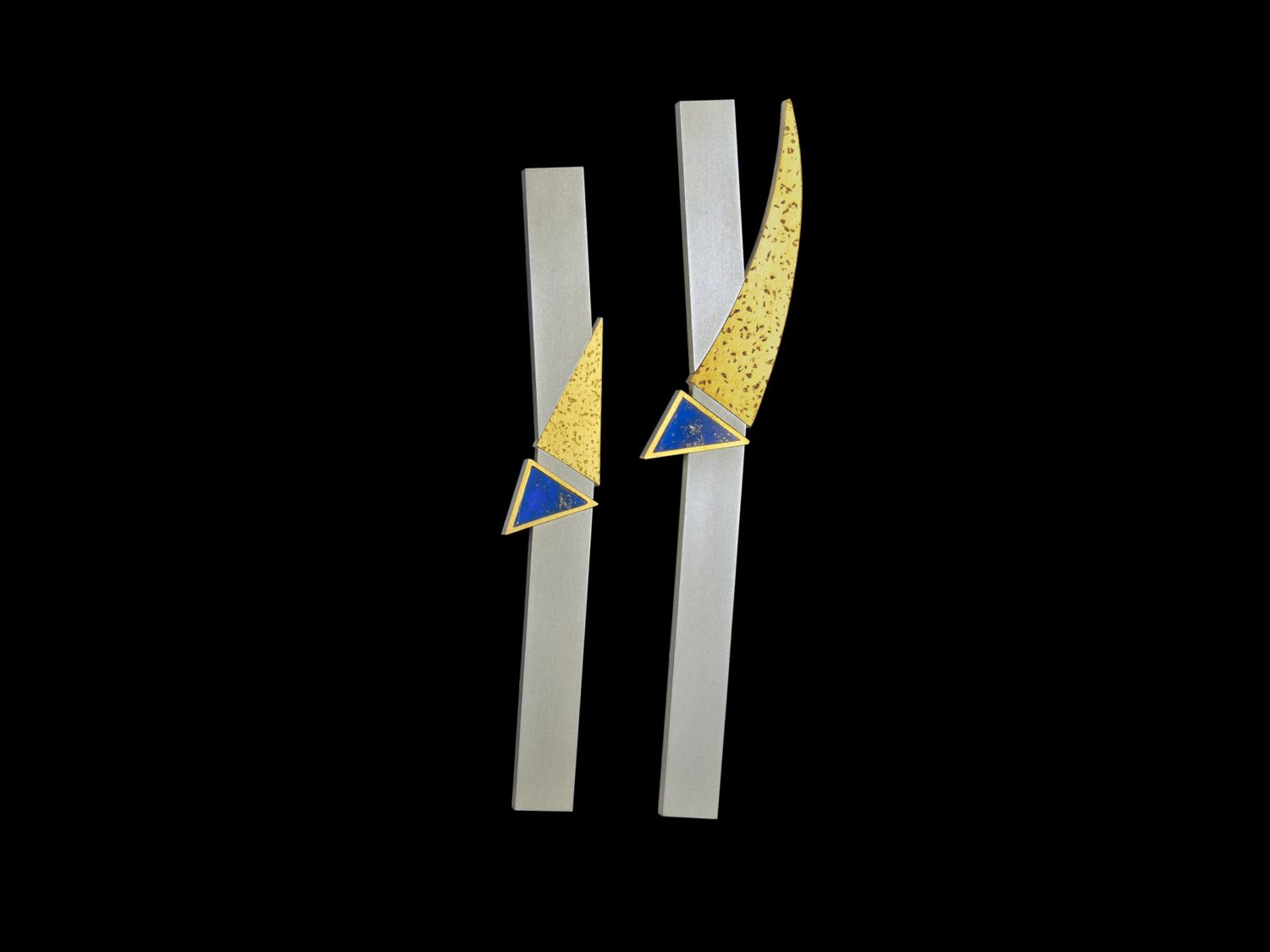 Two brooches, silver, gold, lapis lazuli, 1993