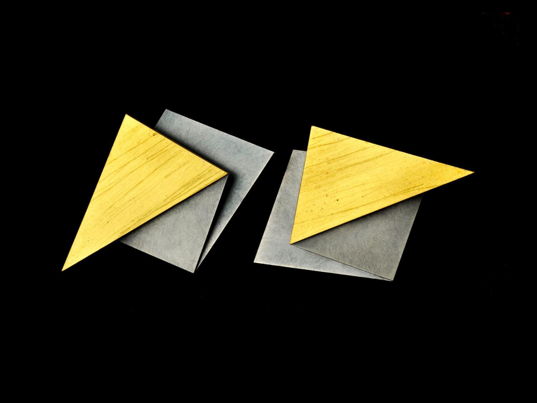 earrings, gold, oxidized silver, 2009