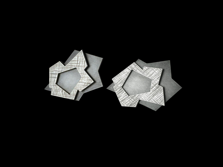 EARRINGS, oxidized silver, 2002