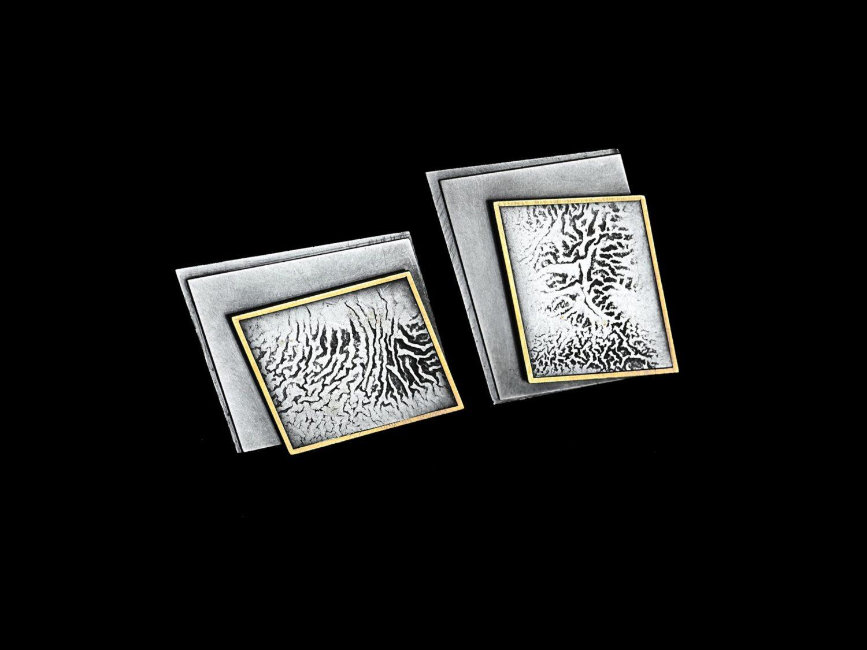 earrings, oxidized silver, gold, 2005