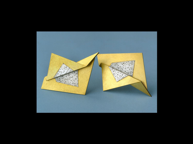 Earrings, gold, silver, 2002