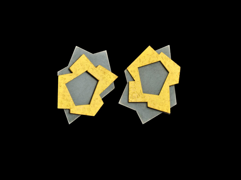 earrings, oxidized silver, gold, 2009