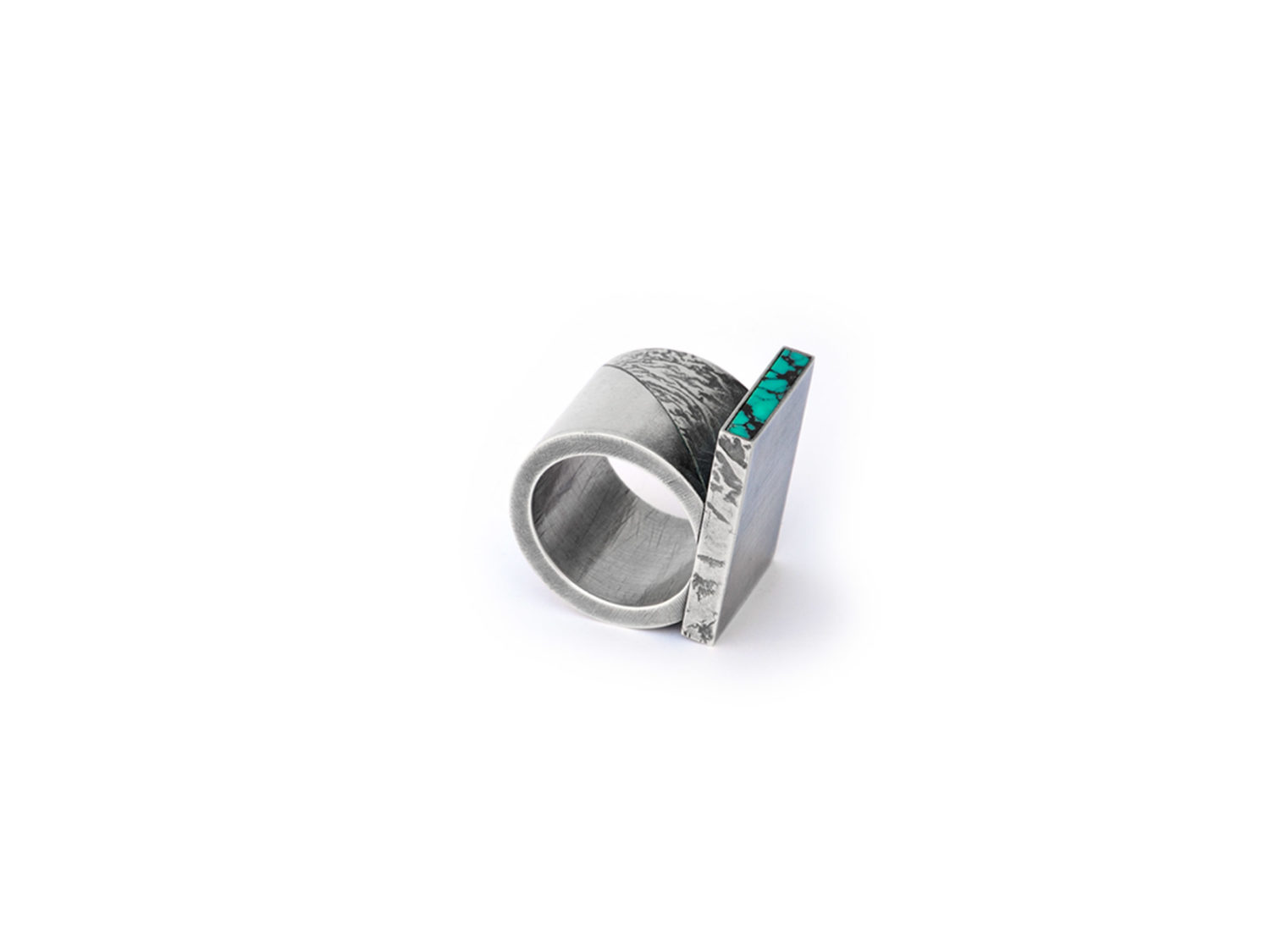 Ring, oxidized silver, turquoise, 2010