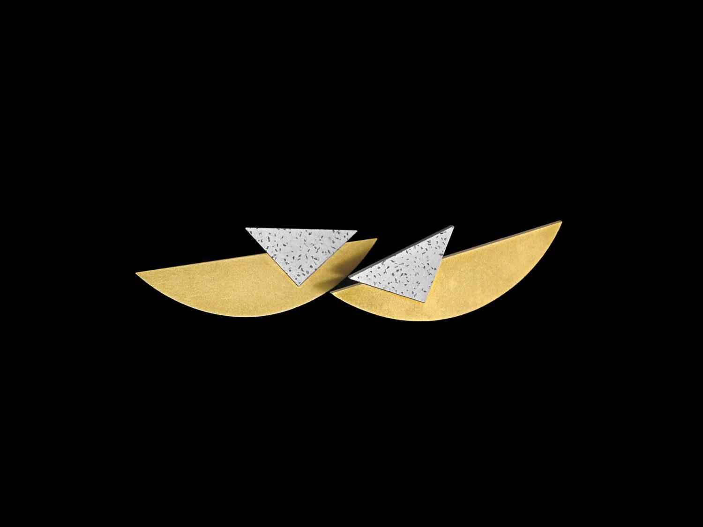 Earrings, gold, white gold, 1993