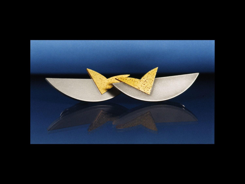 Earrings, white gold, gold, 1993