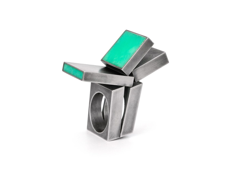 Ring, oxidized silver, chrysoprase, 2009