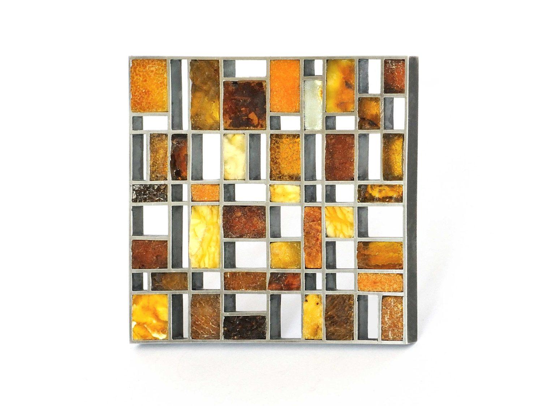Brooch, silver, amber, 2015