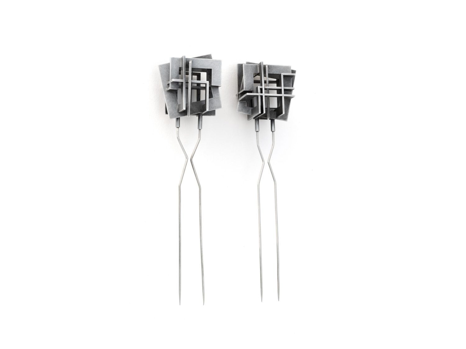 Brooches, oxidized silver, stainless steel, 2002