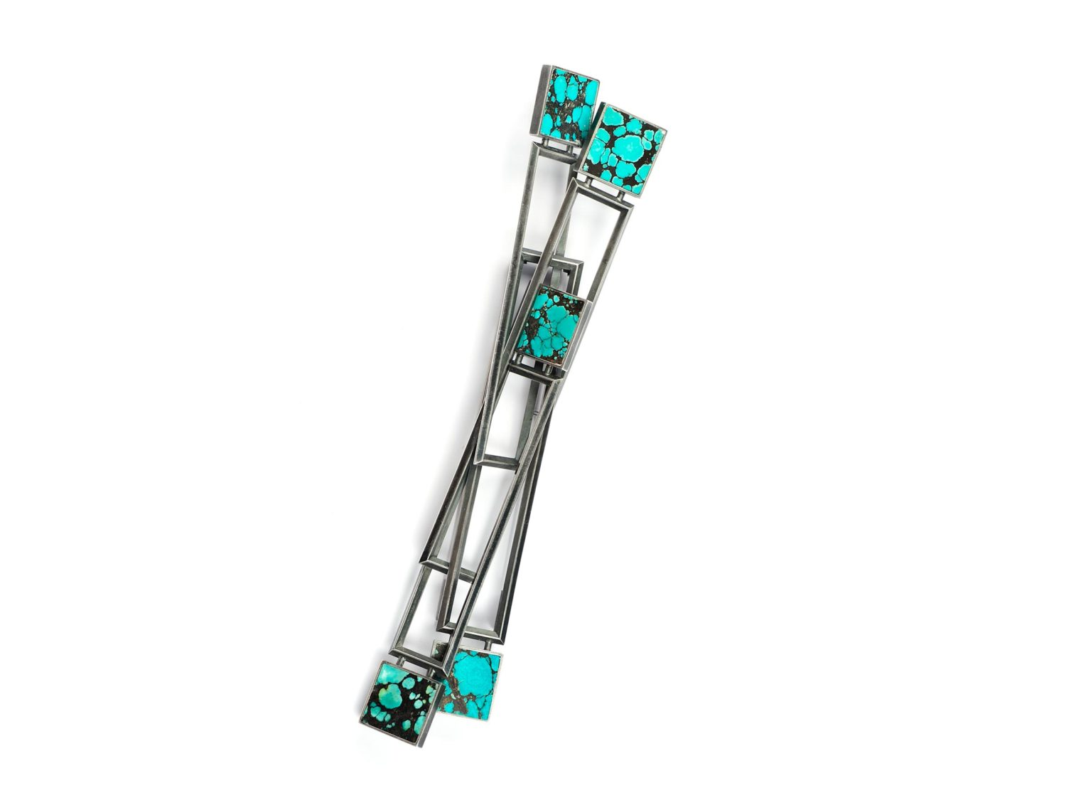 Brooch, oxidized silver, turquoise, 2008