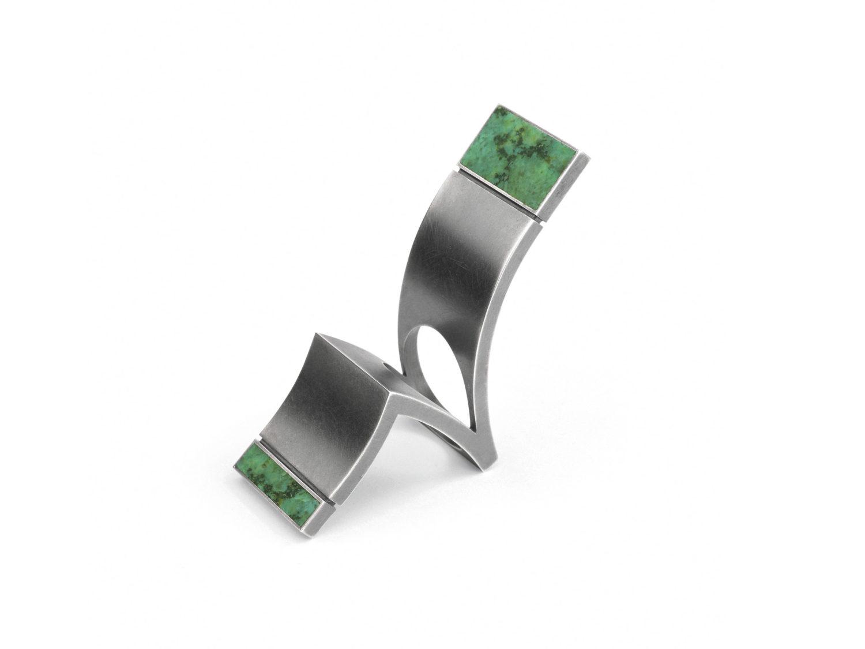 Ring, oxidized silver, chrysocolla, 2006