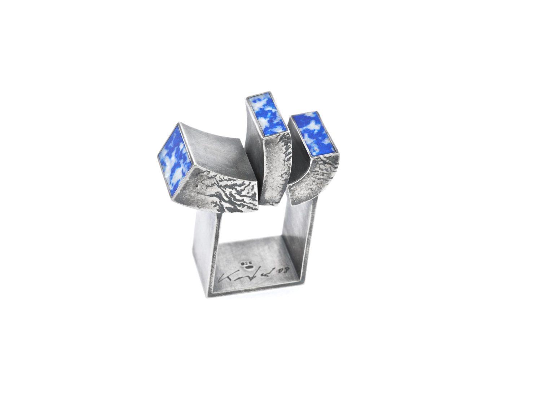 Ring, oxidized silver, sodalite, 2008