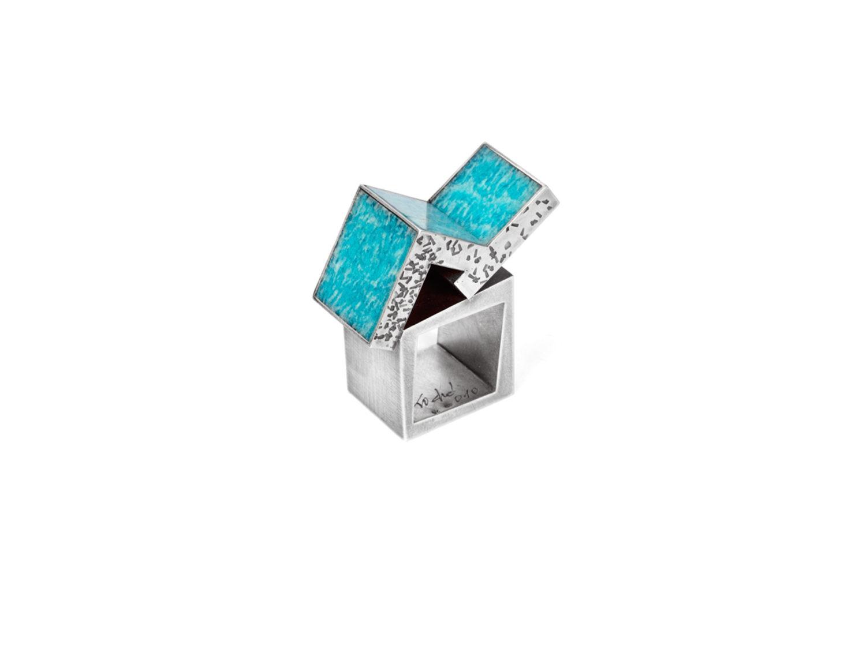 Ring, oxidized silver, amazonite, 2010