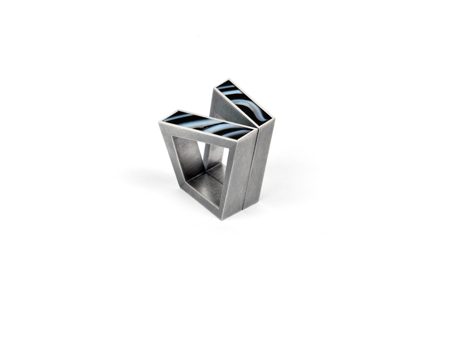 Ring, oxidized silver, agate, 2012/13