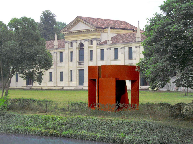"""""""L'Acqua Dura"""", Progetti di Scultura per la Riviera del Brenta, sculpture project """"Ferroarcangelo"""", Corten steel, H 3.5 m, 2000, Villla Ferretti-Angeli, Dolo/Italy"""