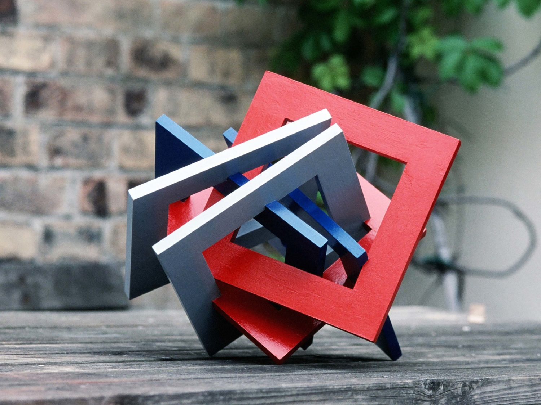 sculpture, wood, acrylic, 35 × 34 × 31 cm, 2005