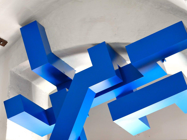 sculpture, aluminium, acrylic, 2011, aichberg castle, styria, austria
