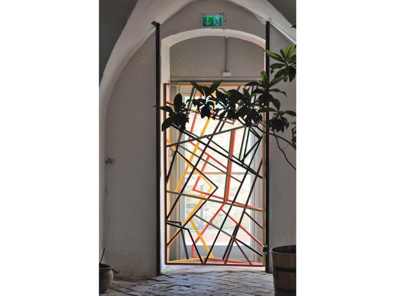 emergency door, steel, aluminium, acrylic, 2009, aichberg castle, styria, austria